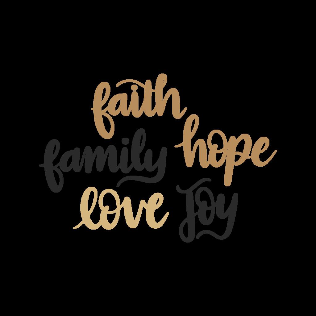 clip black and white Faith Family Hope Love