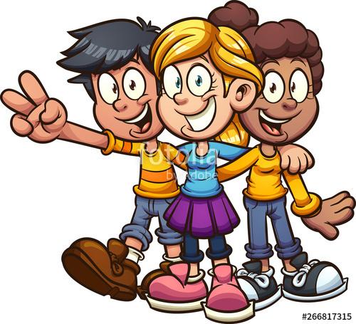 clip art library stock Happy cartoon kids friends. Vector cartoons kid