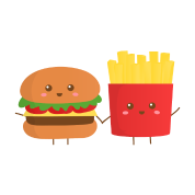 clip art royalty free stock Fries transparent kawaii. Cute burger and french