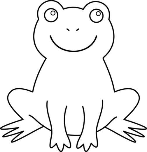 jpg royalty free Outline of frog beautiful. Frogs clipart black and white