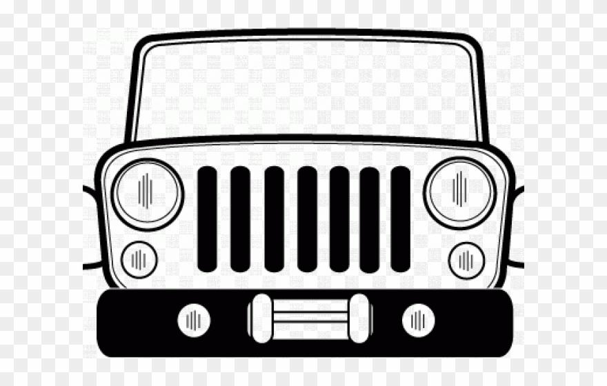 clip black and white stock Front of jeep clipart. Grill cj clip art