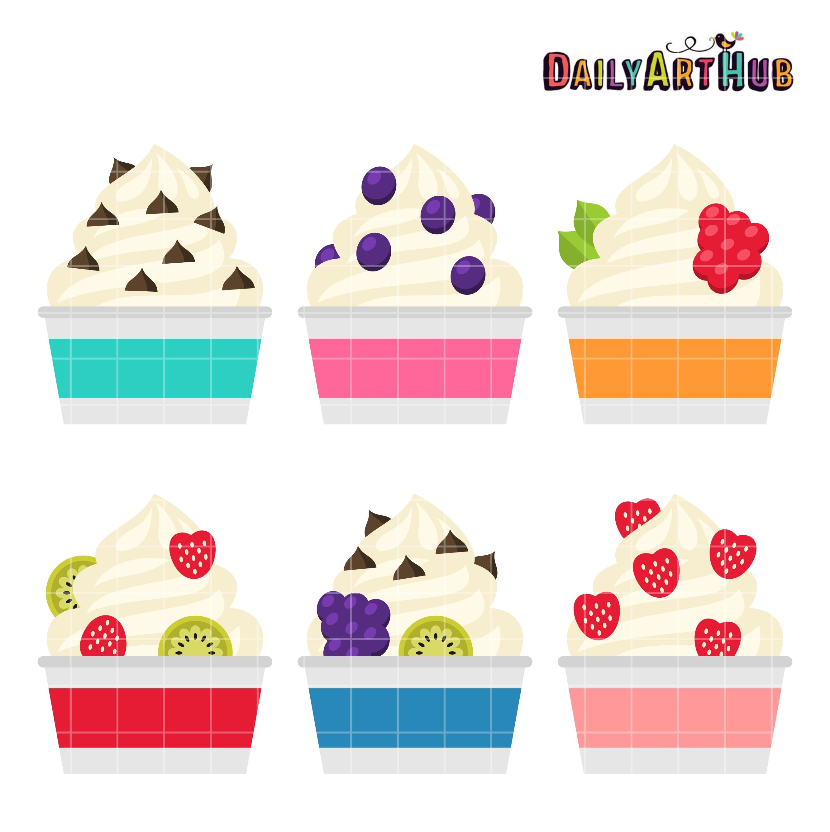 image transparent library Frozen yogurt clipart. Clip art set .