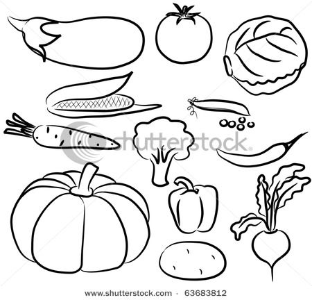 clip art royalty free stock Vegetables black and white clipart. Pin on this week