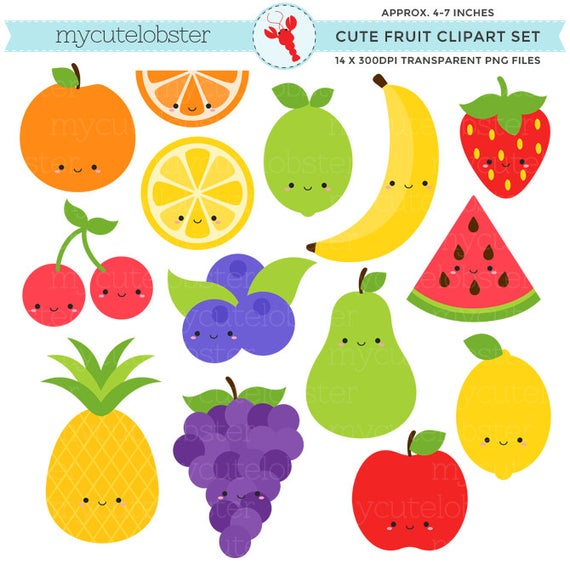 banner royalty free Cute set clip art. Fruit clipart.