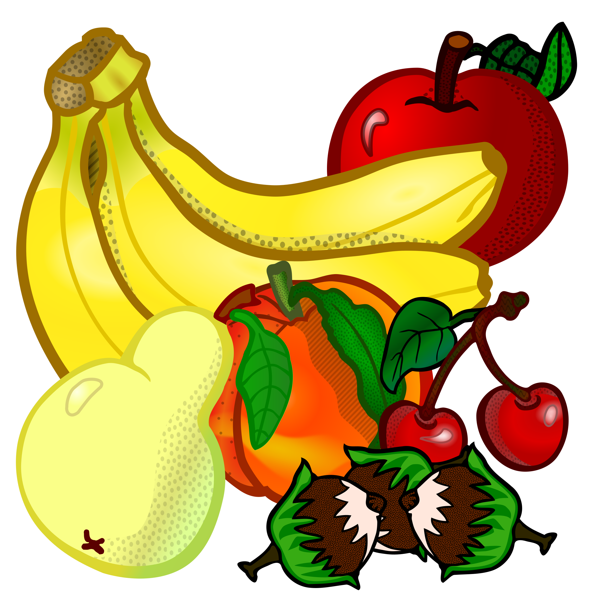 svg free library Fruit clipart. Fruits coloured big image.