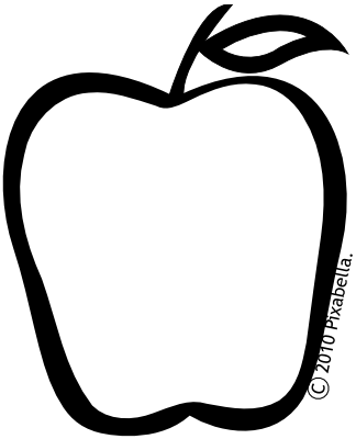 image library Black and white apples clipart. Fruit line art free