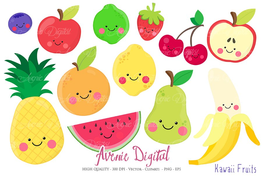 clip stock Kawaii fruits vectors illustrations. Fruit clipart.