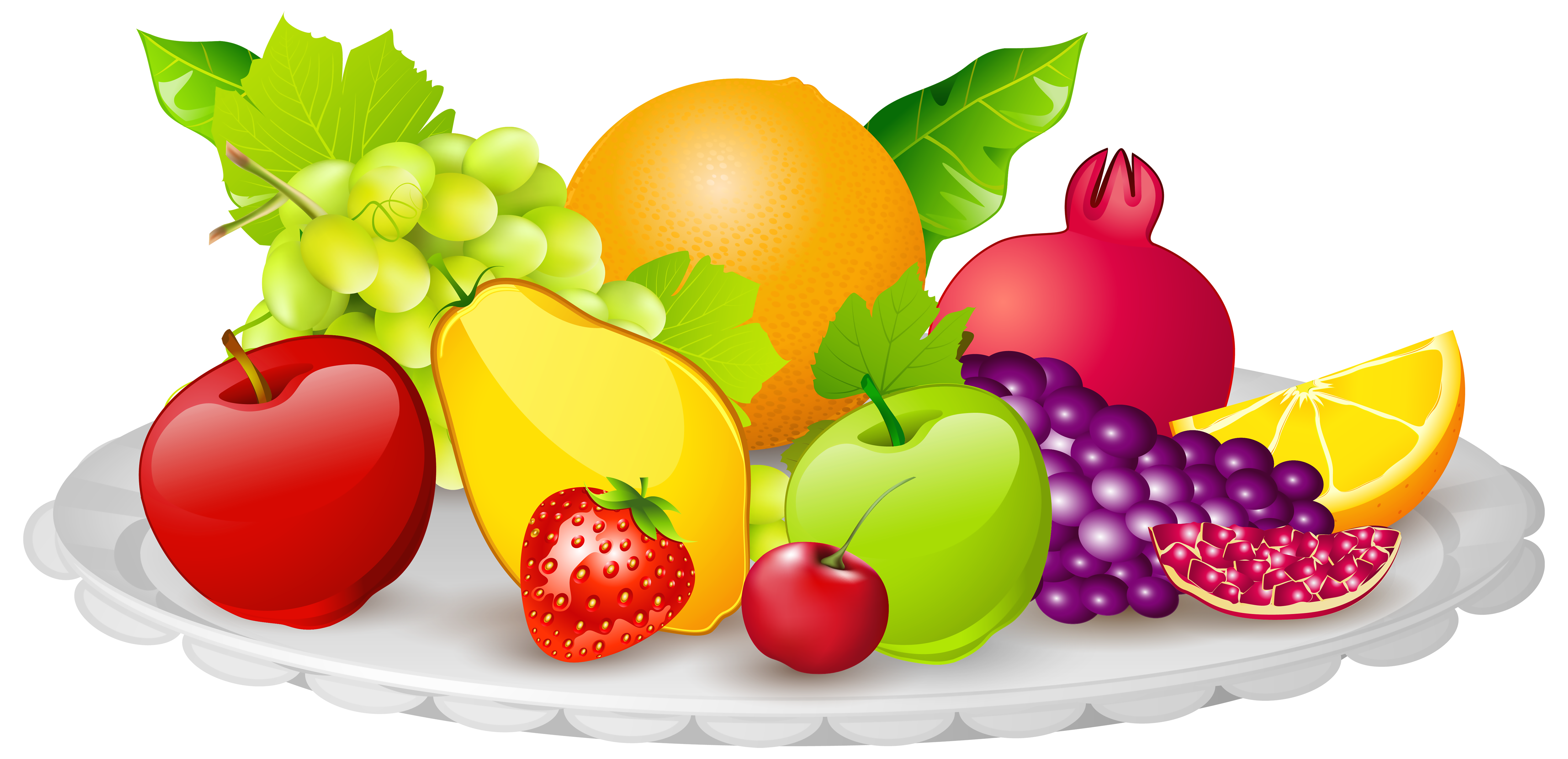 clip library stock Plate with png image. Fruits clipart.