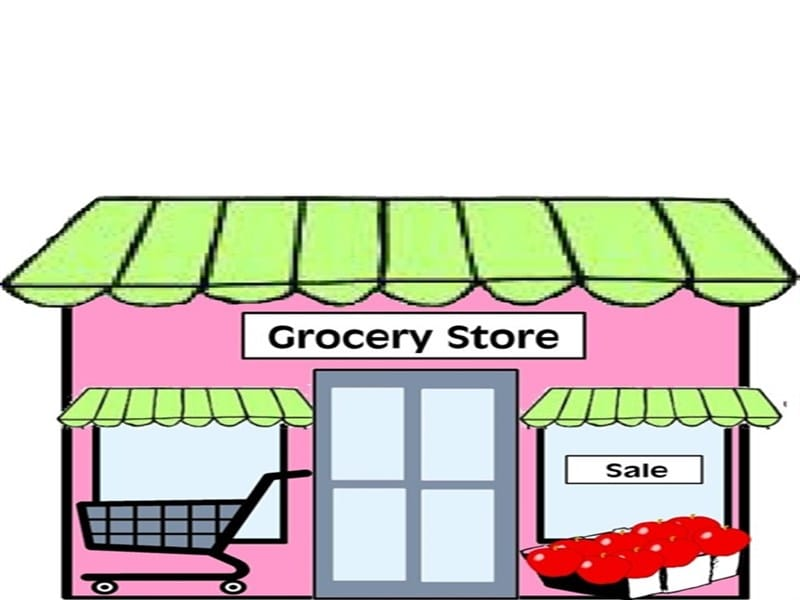picture black and white library Supermarket clipart building. Grocery store black and
