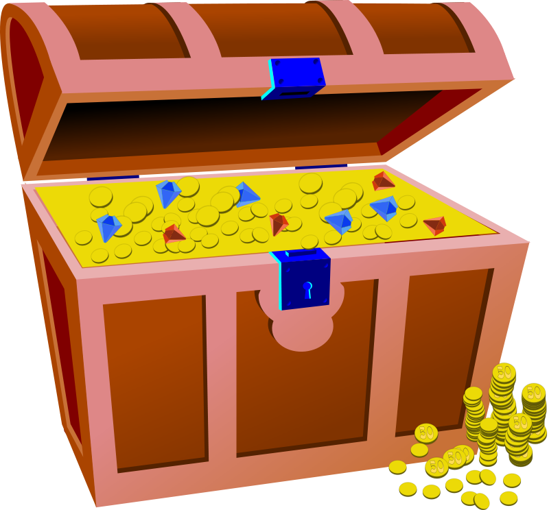 banner transparent library Full treasure chest theme. Jewel clipart pirate