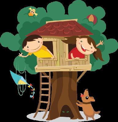 jpg royalty free stock Children having fun treehouse. In the clipart