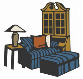 banner royalty free Interior design meaning. Furniture clipart