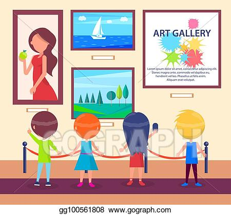 png royalty free library Gallery clipart. Vector stock children visiting.