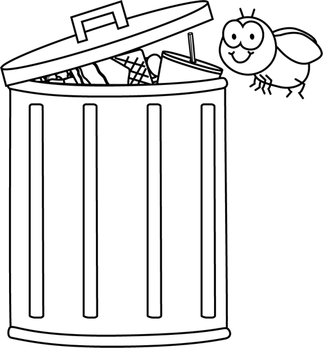 picture stock Trashcan clipart odor. Black and white fly.