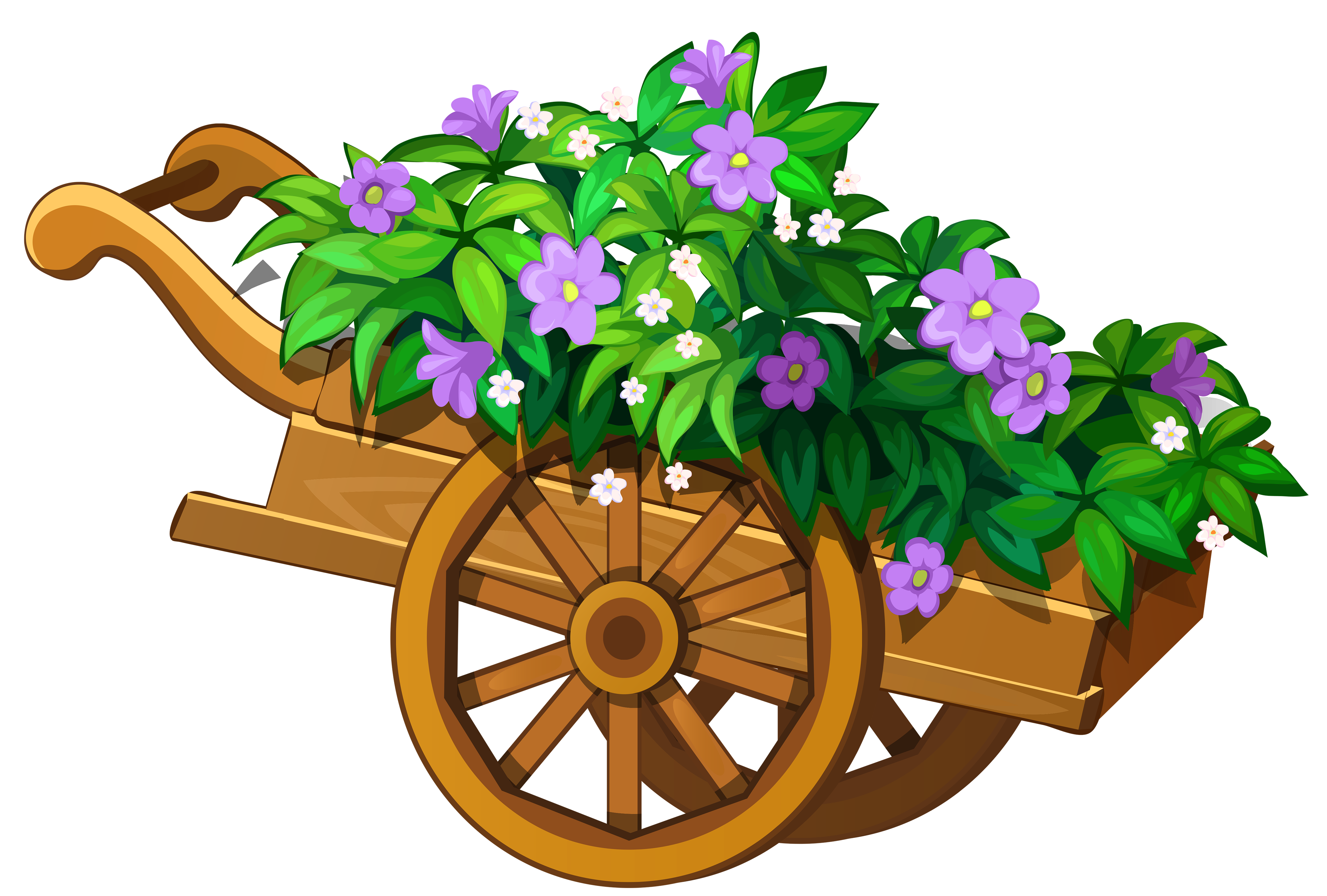 graphic free library Wheelbarrow clipart spring flower. Wooden garden with flowers