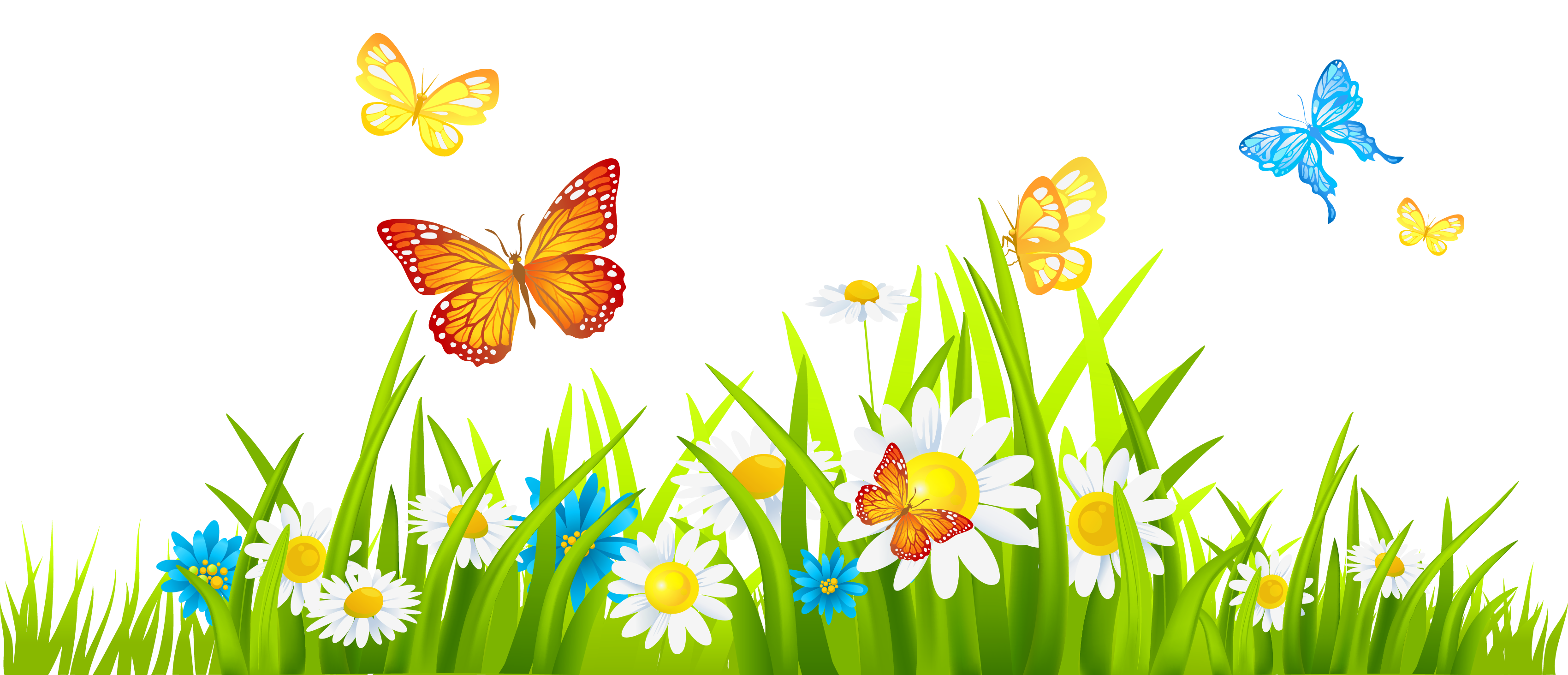 banner royalty free Grass Ground with Flowers and Butterflies PNG Clipart