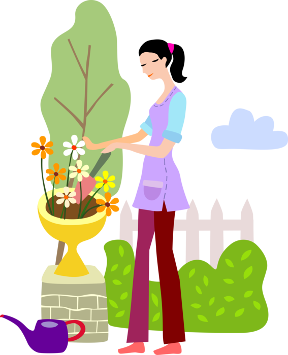 banner freeuse Gardener Plants Flowers with Trowel