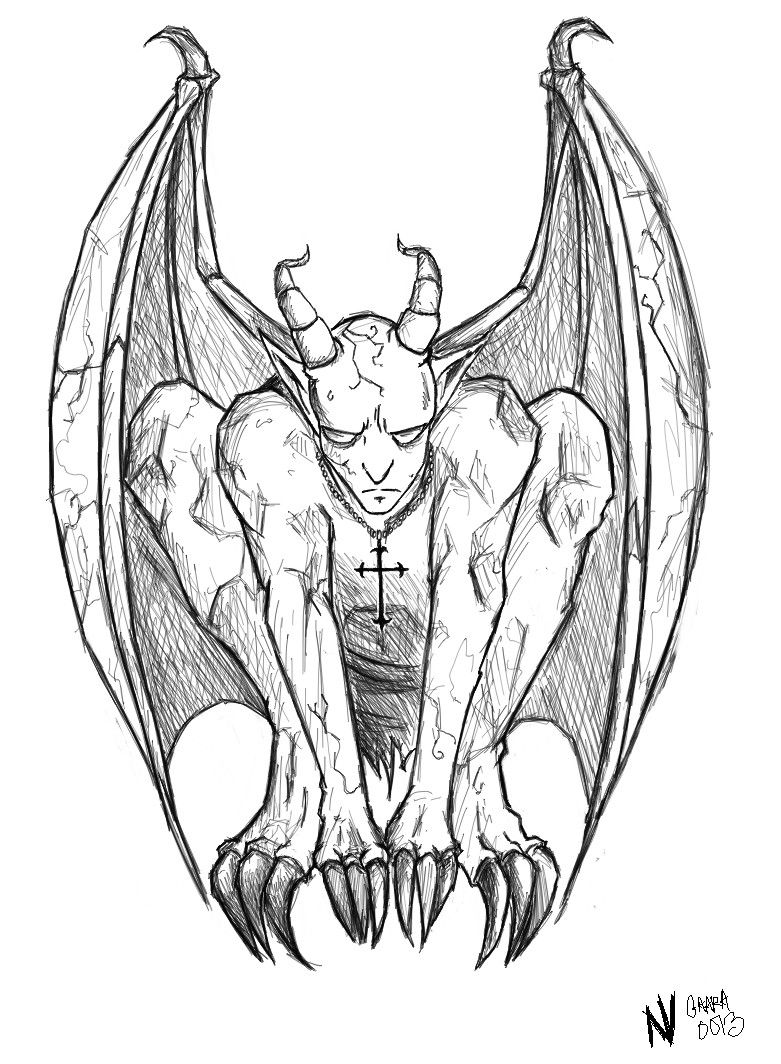 clipart download Gargoyles drawing. Gothic drawings top scary