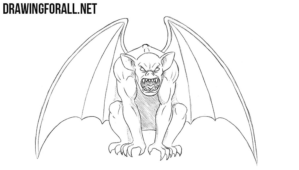 banner black and white stock Gargoyles drawing. How to draw a