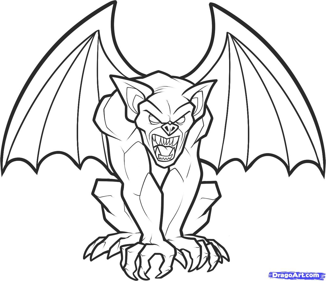 banner library How to draw a. Gargoyles drawing