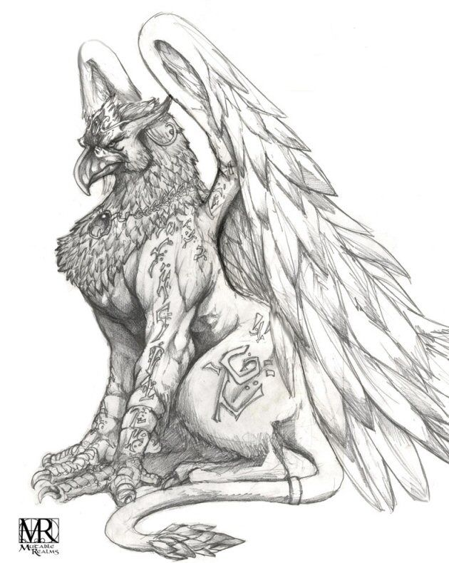 clip royalty free Gargoyles drawing griffin. Gryphon my style in