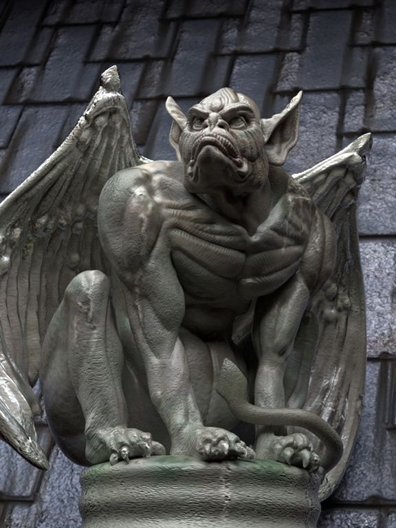 clipart black and white library gargoyle More