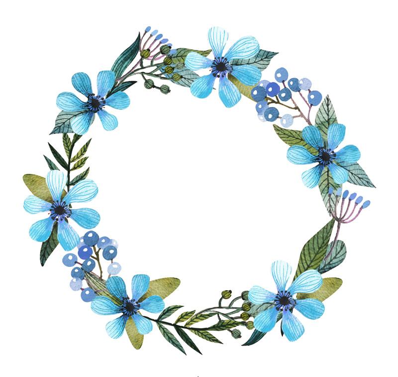 jpg freeuse Flower Blue Wreath Clip art