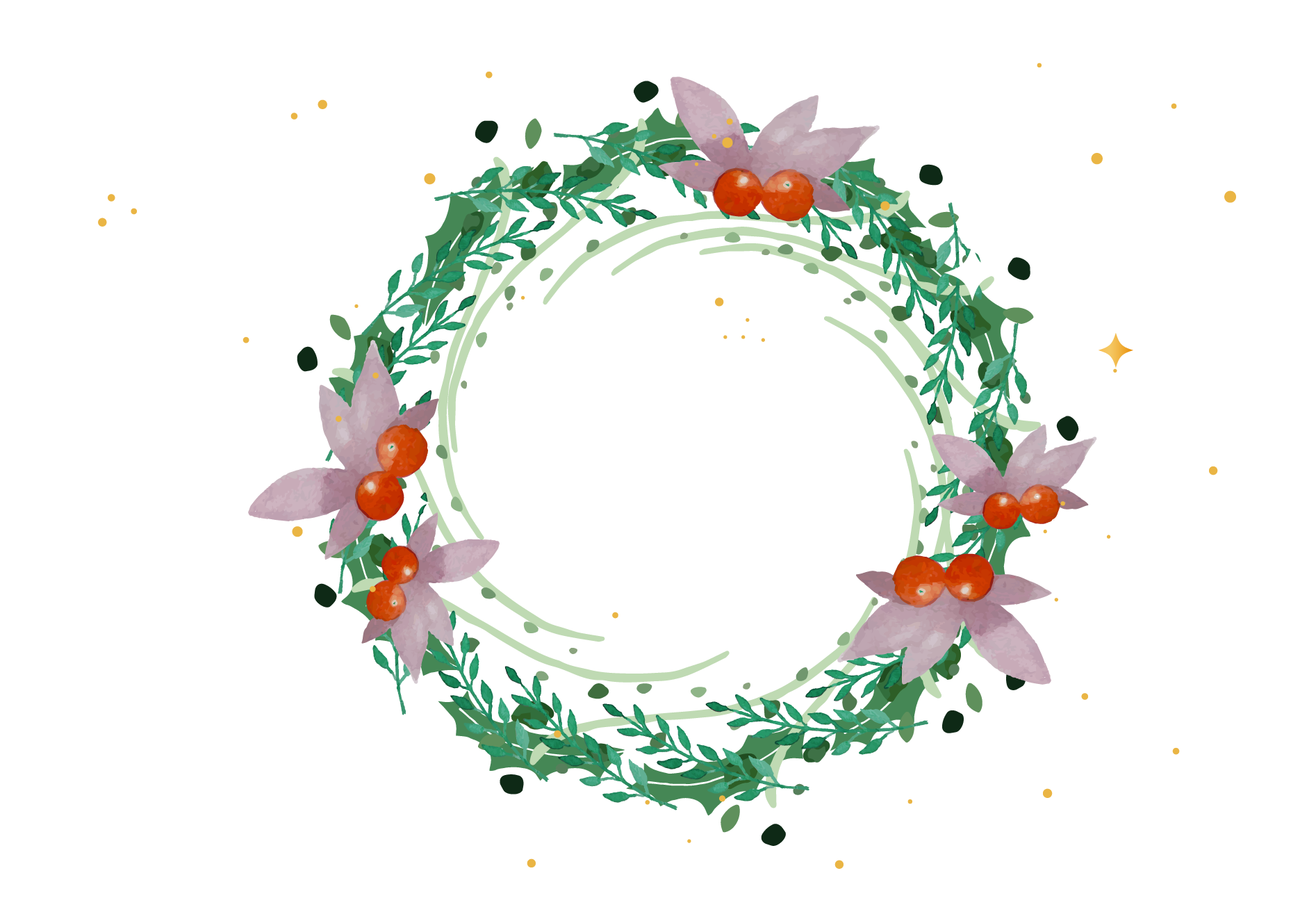 vector transparent stock Wreath Christmas Garland Watercolor painting