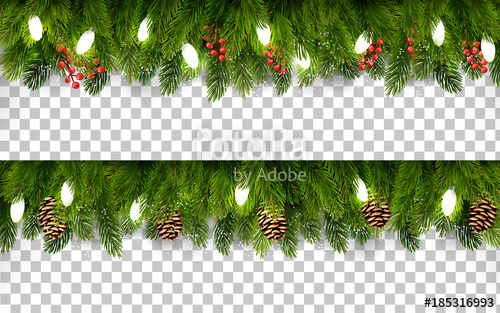graphic library stock Two Christmas holiday boards with branches of tree and pine