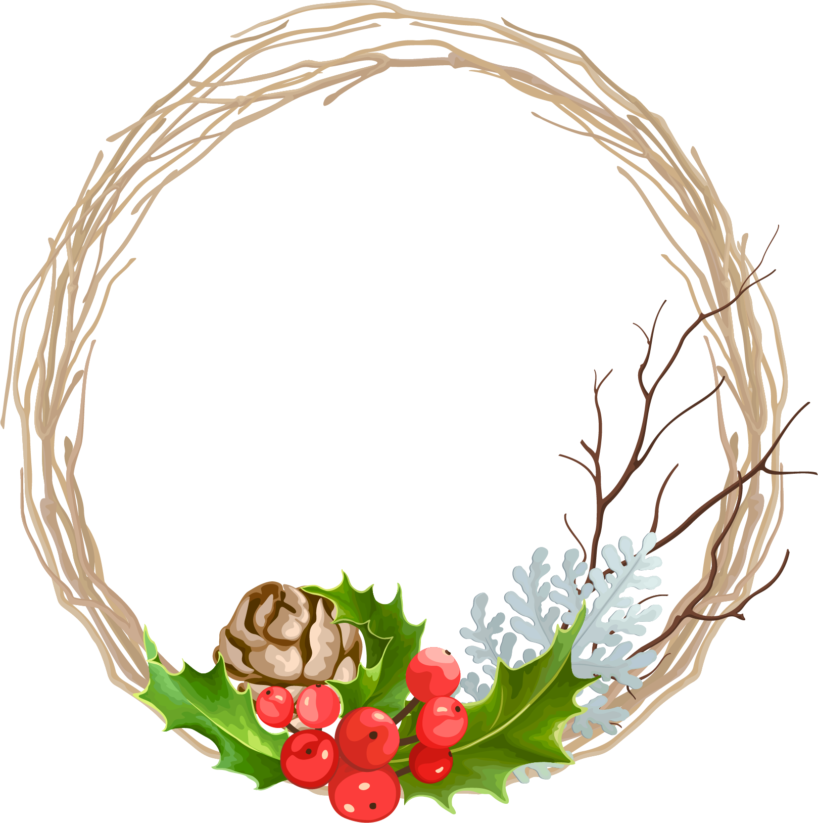 svg transparent stock Christmas garland decoration transprent. Pomegranate vector wreath