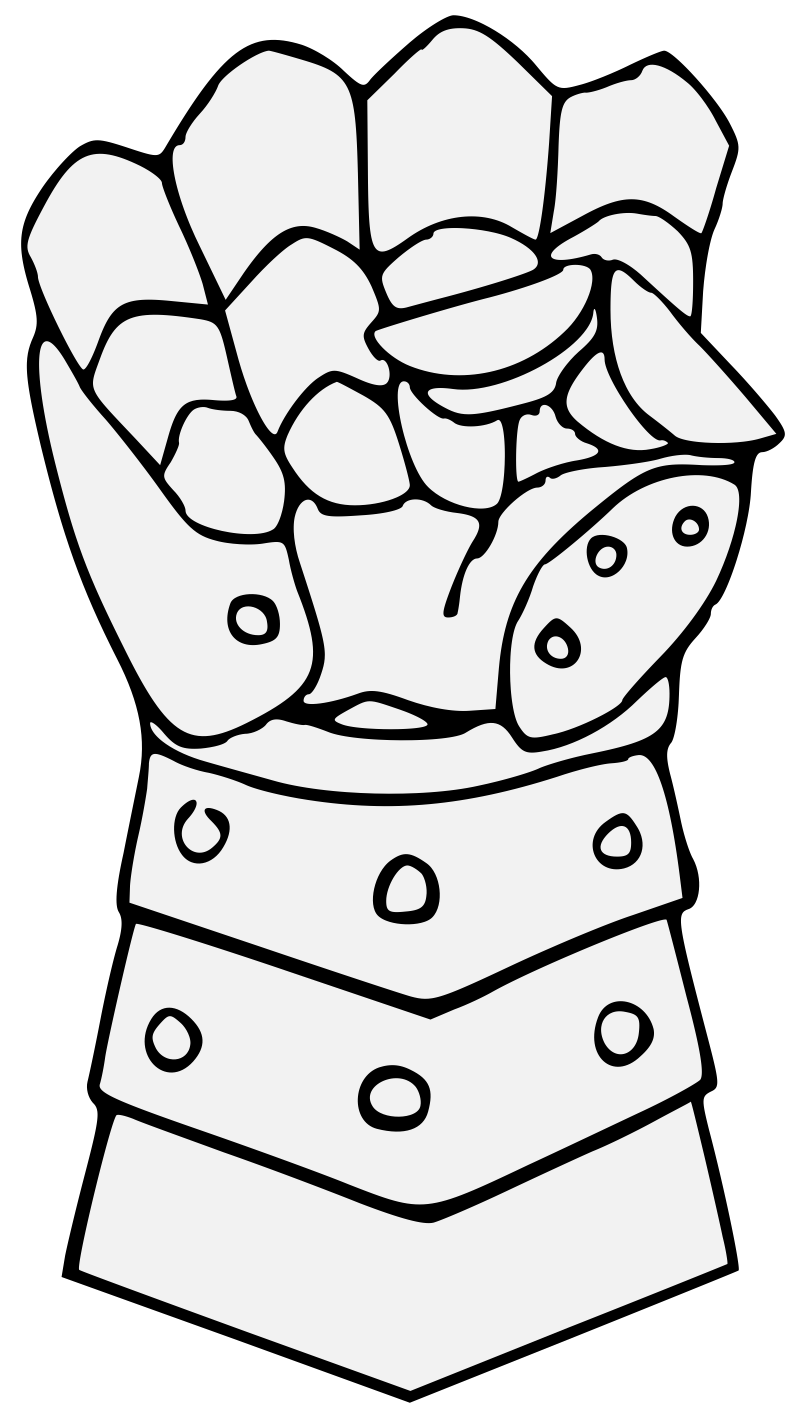 graphic library download Gauntlet drawing. Traceable heraldic art clenched