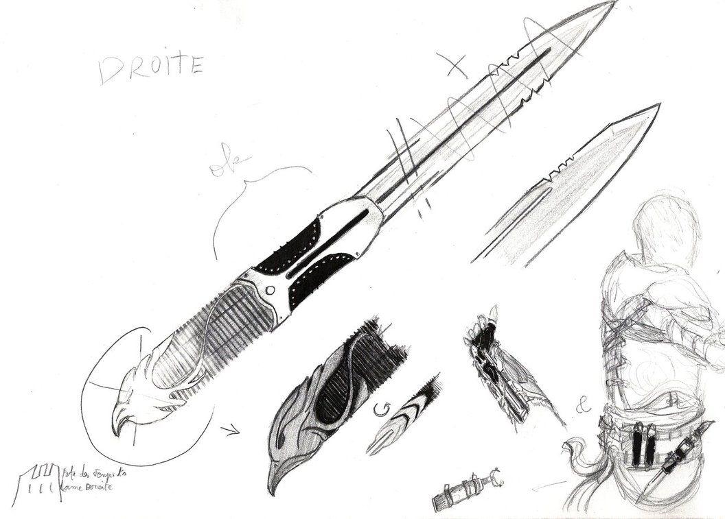 free library Gauntlet drawing assassin. Alternate design hidden blade