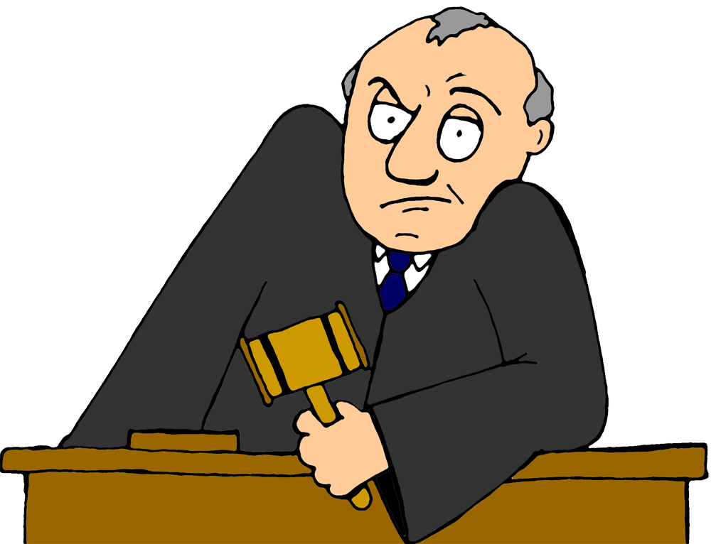 clip free library Cartoon judge not happy. Legal clipart litigation.