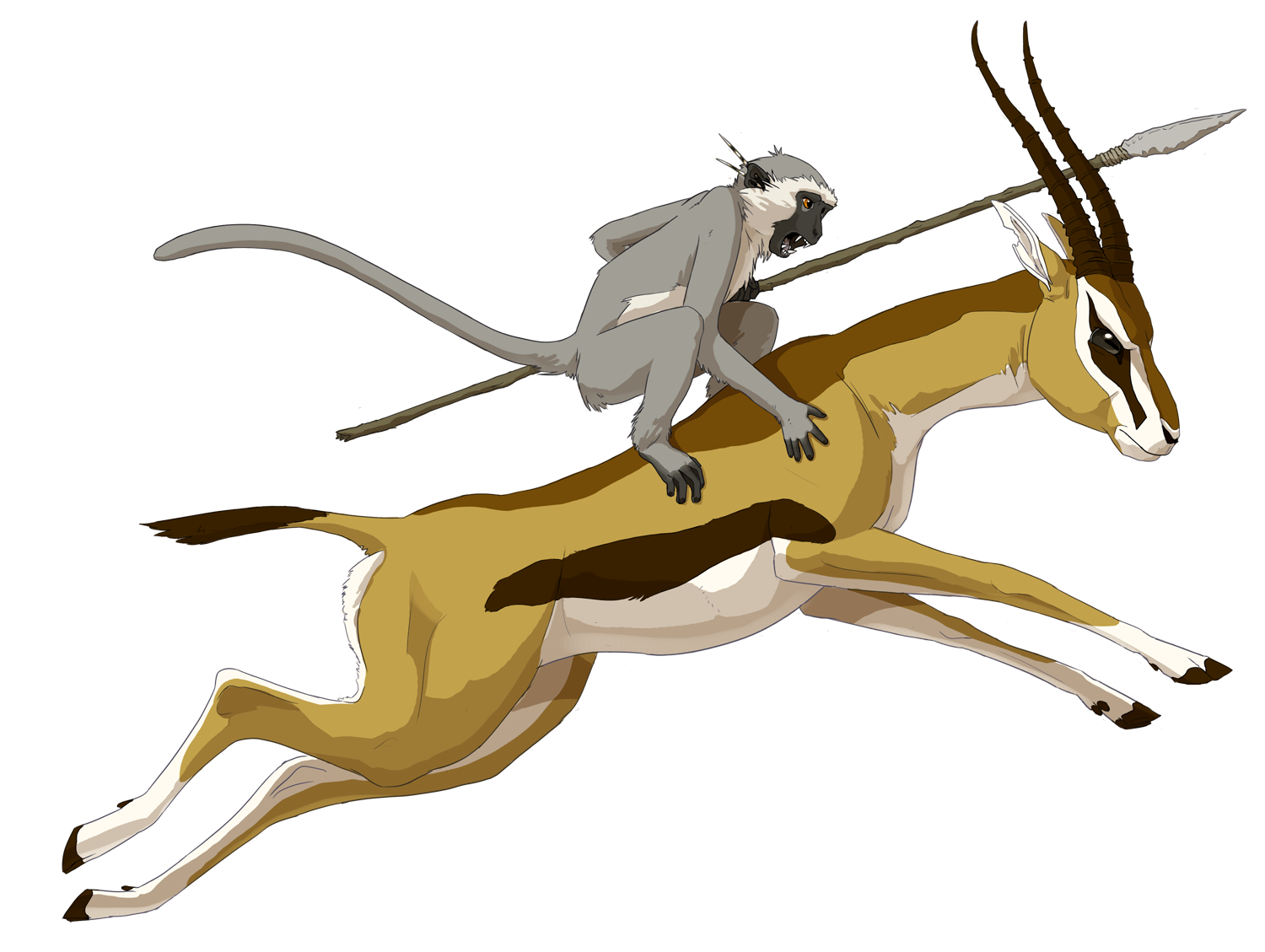 image stock Gazelle drawing. Rider by stuffed on
