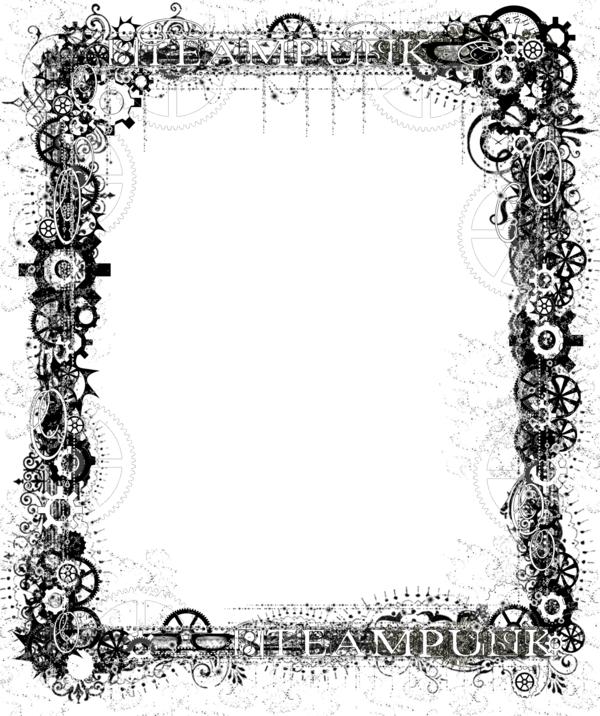 clip black and white Bdr png steampunk bling. Gears border clipart