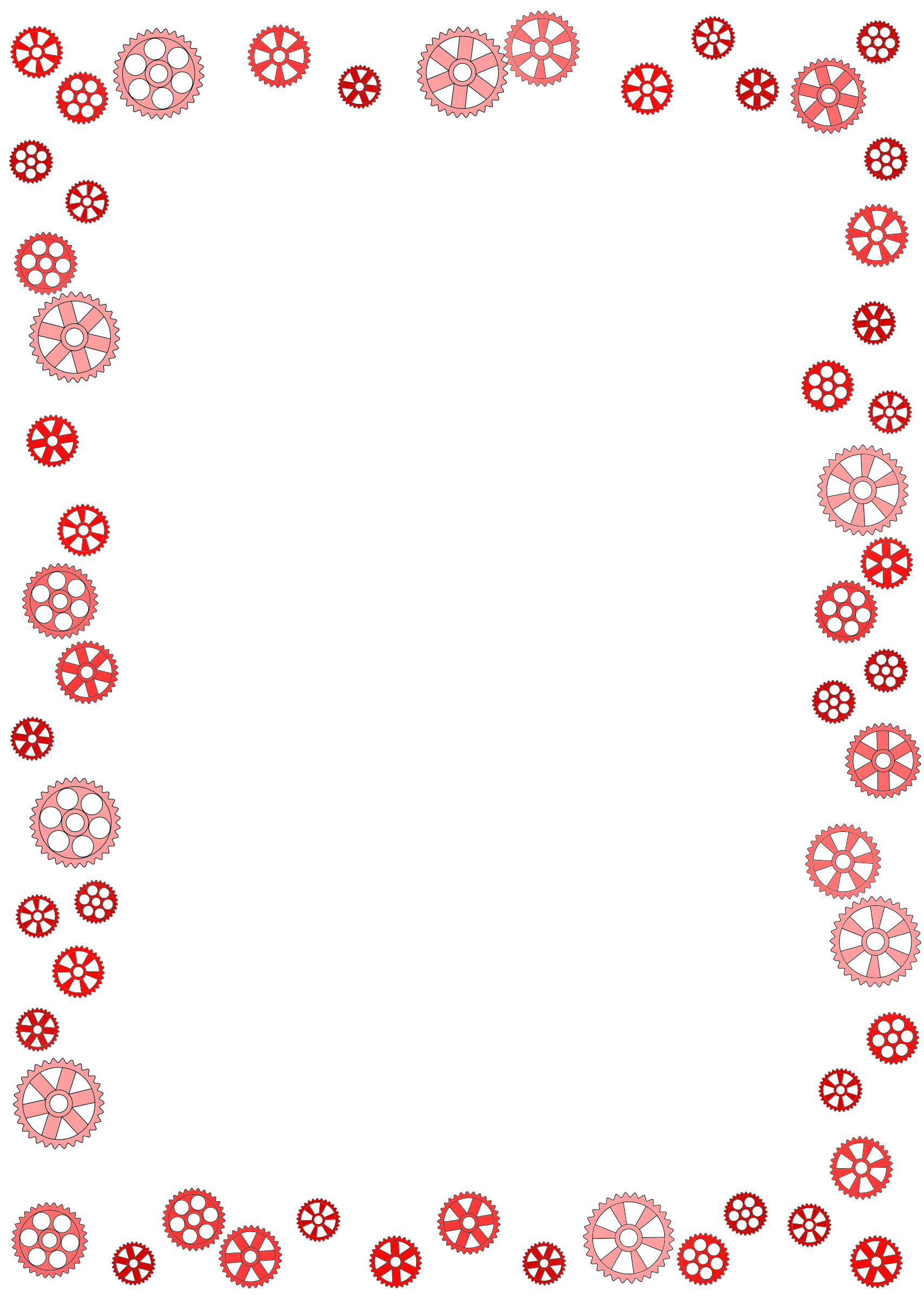 graphic Frame colour big image. Gears border clipart