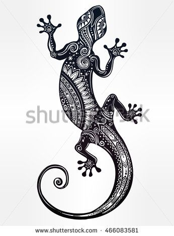 png stock Ornate Gecko lizard in in tattoo style