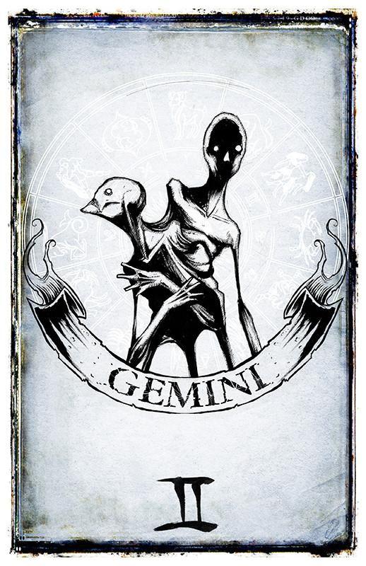 svg royalty free stock Shawn coss zodiac prints. Gemini drawing creepy