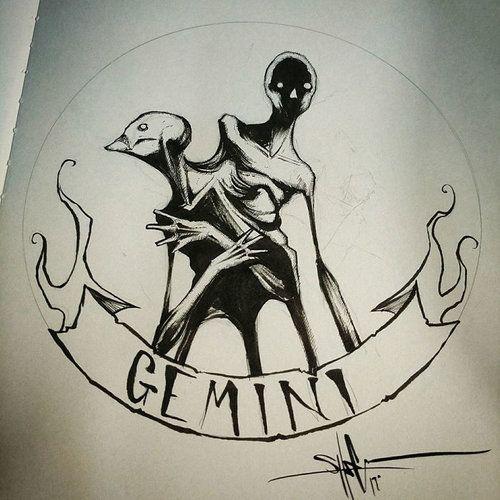 jpg transparent stock Gemini drawing creepy. Zodiac signs reimagined as