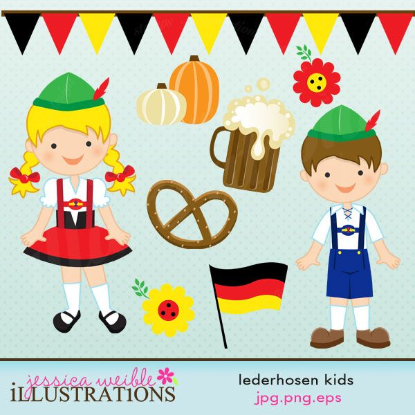 vector download Lederhosen kids cute digital. German clipart.