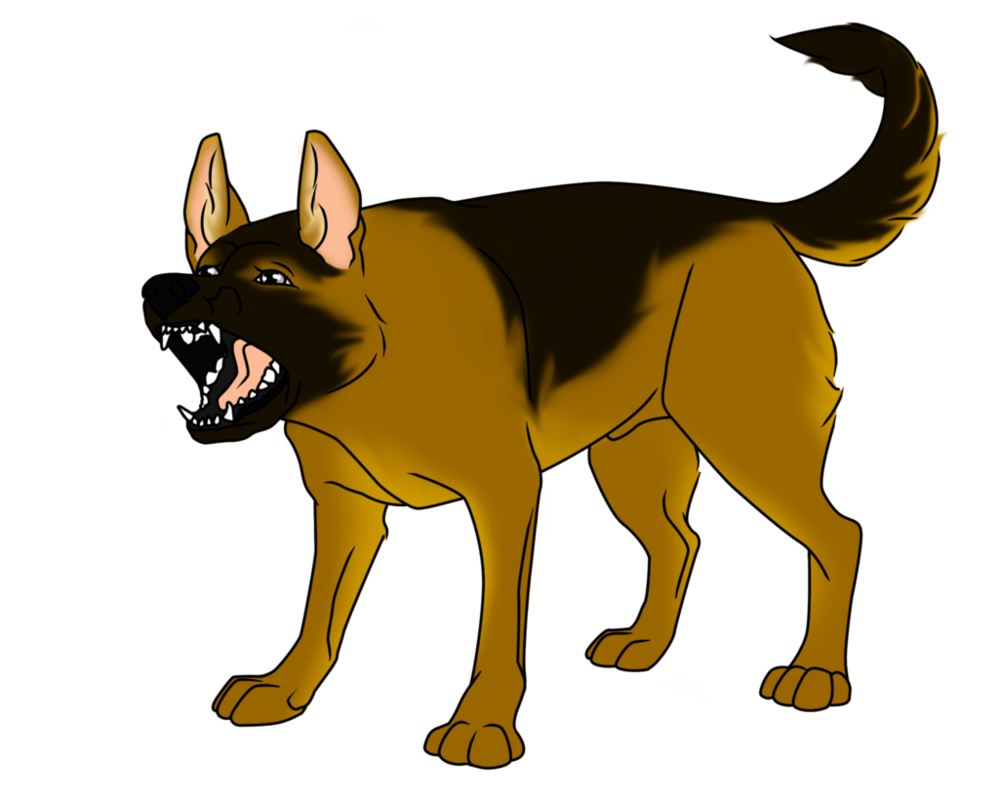 clip black and white stock Snarling German Shepherd Clipart