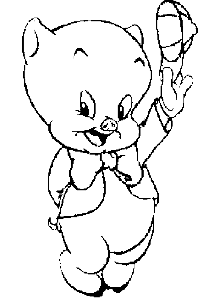 clipart black and white Porky Pig Looney Tunes Coloring Page