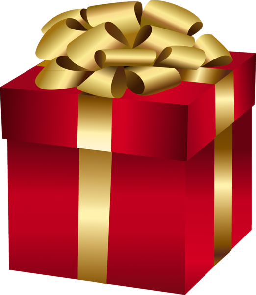 royalty free stock Large red gift box. Gifts clipart gold