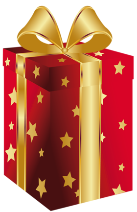 clipart transparent stock Red present with bow. Gifts clipart gold