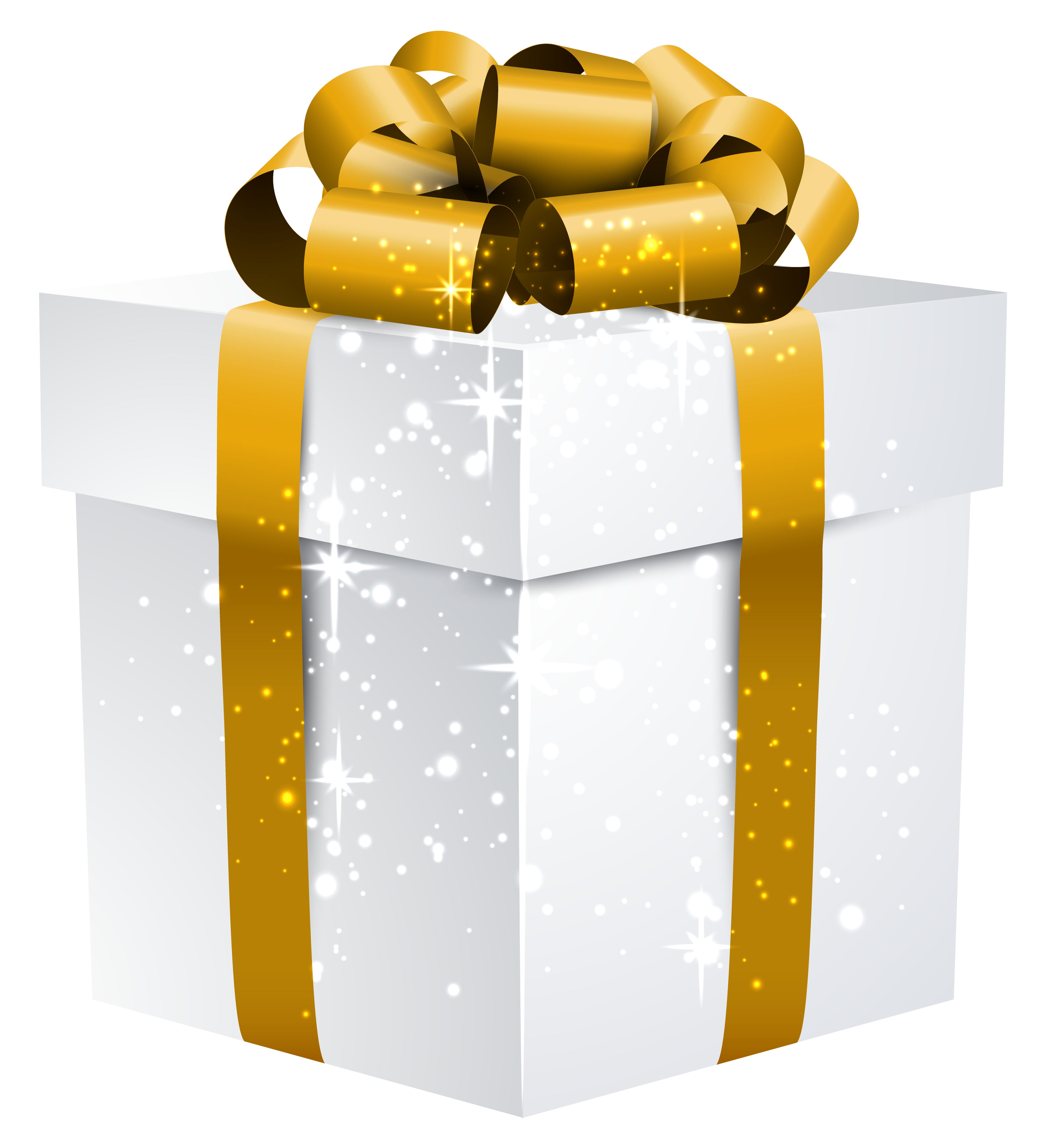 png black and white library Gifts clipart gold. White shining gift box