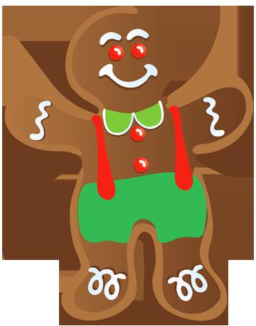 graphic transparent Christmas man clip art. Gingerbread clipart.