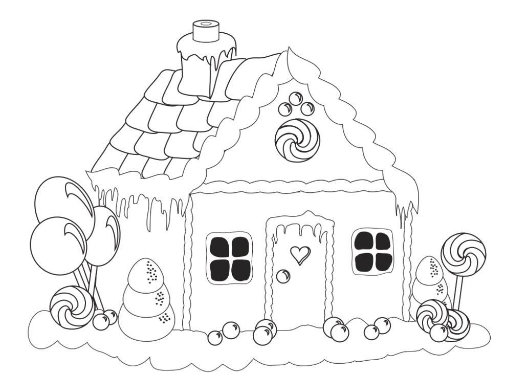 jpg black and white download Gingerbread House Lollipop Coloring Pages