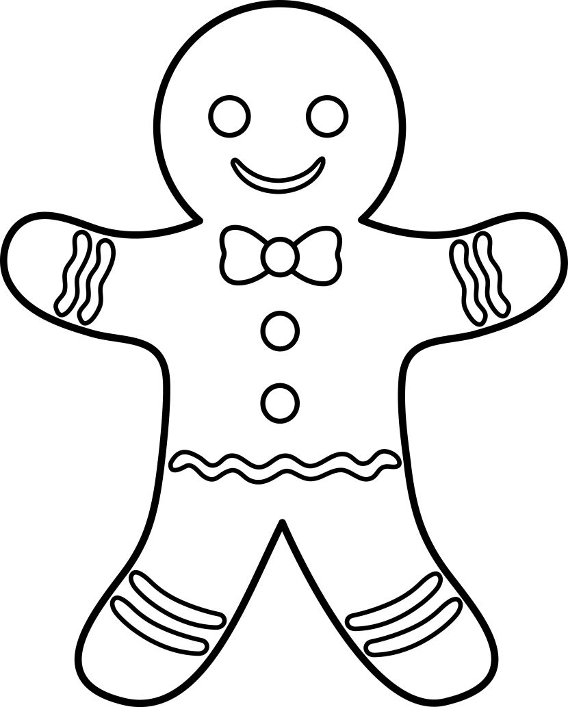 jpg freeuse library Gingerbread man clipart black and white.  collection of cookie