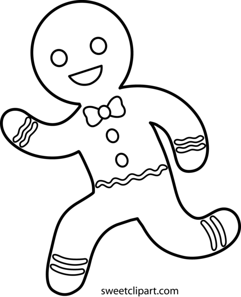 clip download Sweet clip art page. Gingerbread man clipart black and white