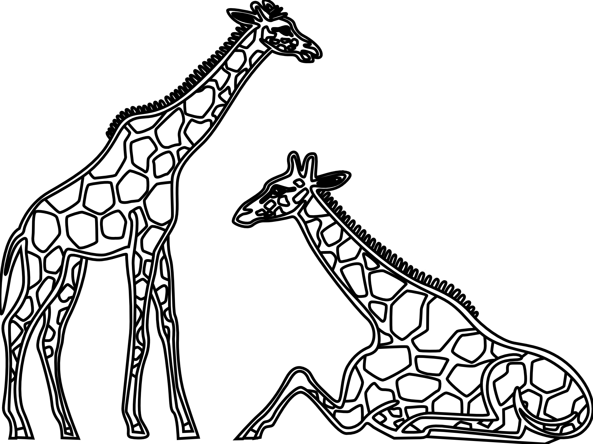 banner library download line drawing giraffe